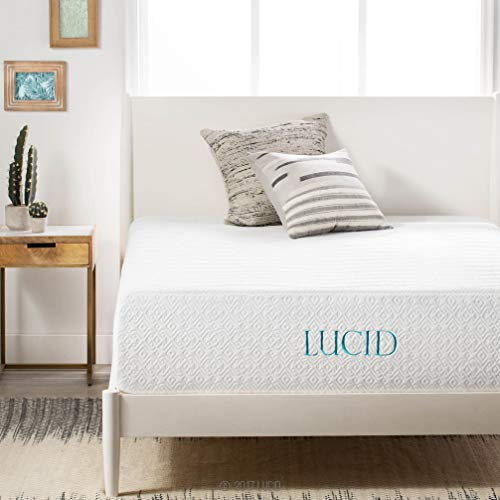 LUCID 14 Inch Memory Foam Bed Mattress Conventional,...