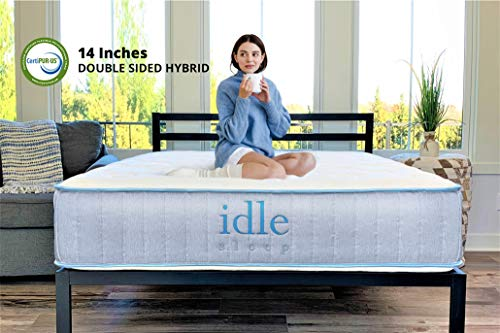 Idle Sleep 14 Inch Queen Double Sided Hybrid Mattress...